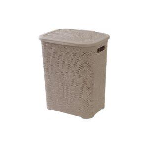 Cesto portabiancheria in plastica color tortora, soluzione perfetta e resistente per riporre i tuoi panni sporchi o lavati. decorazione floreale.