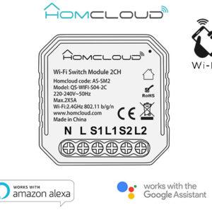 Modulo Interruttore Wi-Fi intelligente 2 canali da inserire nella scatola elettrica 503, comandabileda Smartphone eVocalmente.